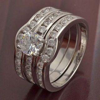 9K White Gold Filled CZ 3 Ring Wedding Engagement Set,size 8,Z305