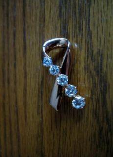 Kenneth J. Lane KJL Goldtone CZ Breast Cancer Ribbon Bow Pin