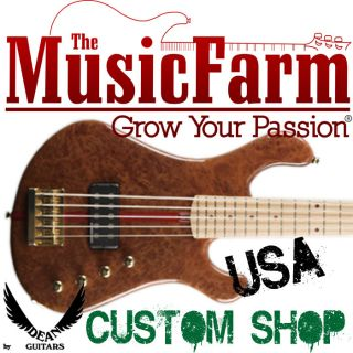 Dean USA Hillsboro 5 String Electric Bass Guitar with Case   Redwood