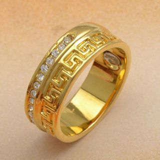 Cool 9K Yellow Gold Filled CZ Mens Ring 9 R361