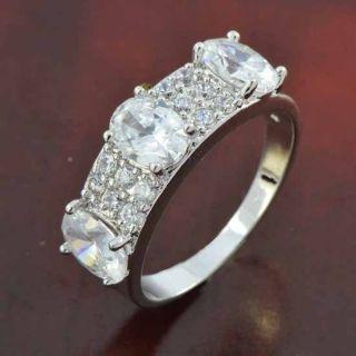 Elegant 9K White Gold Filled CZ Womens Ring Size 8 H152