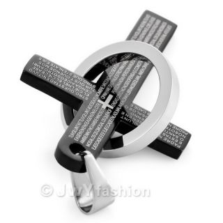 Black Blue Bible Cross Silver Ring Stainless Steel Men Pendant