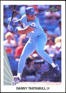 1990 Leaf Danny Tartabull Storm Davis Kansas City Royals Wrong Back