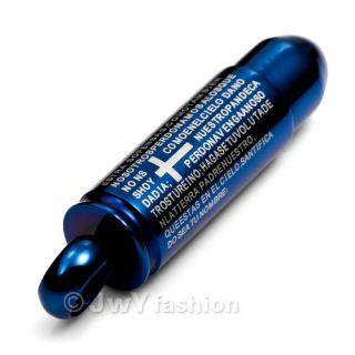 Blue Stainless Steel Bible Cross Bullet Pendant VJ819