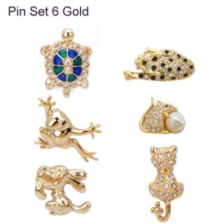 Set of 6 Pins Brooch Encrusted with Swarovski Crystals