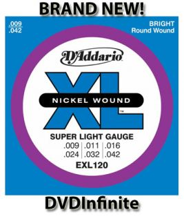 addario exl120 nickel super light electric guitar strings brand new