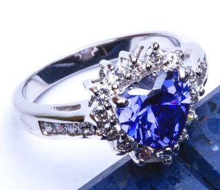 DECEMBER BIRTHSTONE TANZANITE & WHITE TOPAZ .925 Sterling Silver Ring