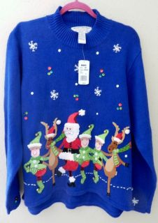 Heirloom Collectibles SANTA POSSE Ugly Christmas Sweater Cardigan sz