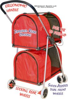 RED DOUBLE DECKER PET DOG FOLDING STROLLER CARRIER (CL PET STR DBL 1