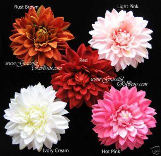 75 Dahlia Flower Head Velvet DIY Silk Flower Clip Hot Lt Pink Ivory