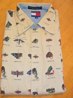 Tommy Hilfiger Mens Medium Dress Casual Shirt Fly Tying Fishing Theme