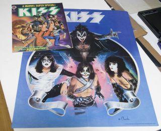 super rare kiss comic marvel super special 1978 #1 mt + poster