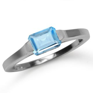 Natural December Birthstone Blue Topaz Sterling Silver Solitaire Ring