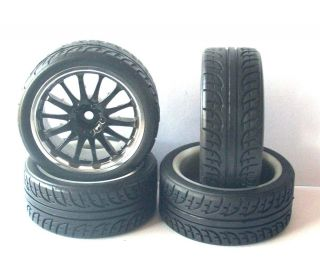 Black Silver Wheels with Treaded Rubber Tyres for 1 10 RC Tamiya HPI