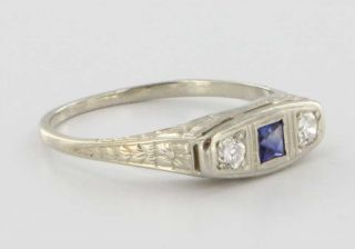 Antique Art Deco 18k White Gold Diamond Sapphire Fine Estate Vintage