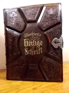 ANTIQUE HOLY GERMAN BIBLE MARTIN LUTHER GUSTAVE DORE WOOD & STEEL