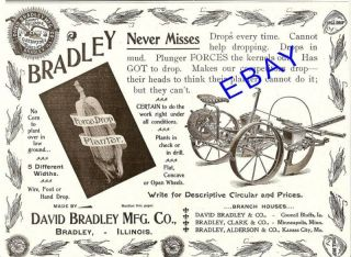 1899 David Bradley Force Drop Corn Planter Ad Illinois