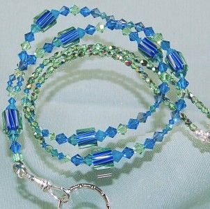 Blue Cane Glass Badge Holder Lanyard Made with Swarovski Austrian