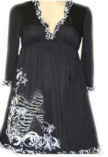 Western Cowgirl Black Zebra Ruffle Empire Waist Dress w/ Rhinestone