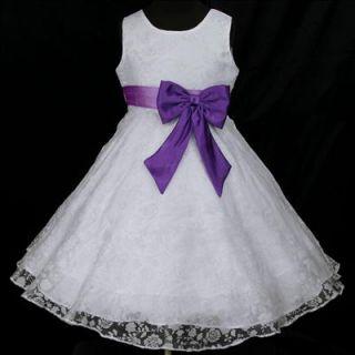 Light,Deep Purple White w942 Bridal Flower Party Wedding Girl Dress 9