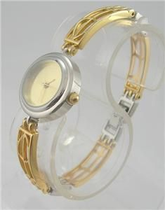 vintage style ladies gold silver tone watch # w19