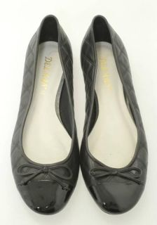 Delman Black Quilted Leather Patent Cap Toe Ballet Flats