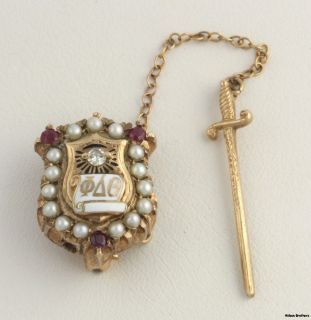 PHI Delta Theta Removable Sword Badge 10K Gold Pin Genuine Pearls Ruby