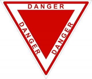 1x Danger Triangle Red Warning Vinyl Sticker Bumper New