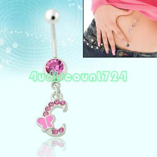 INITIAL LETTER DANGLING PENDANT BARBELL NAVEL BUTTON BELLY RING BAR
