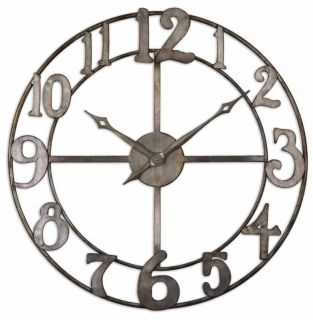 Antique Silver Open Face Delevan Large Wall Clock