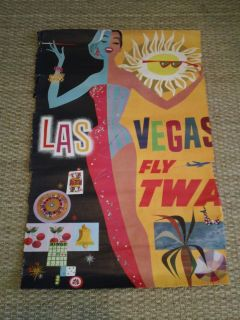 David Klein TWA Las Vegas Travel Poster 1960s Airline Rat Pack