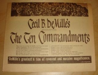 Cecil B. DeMilles The Ten Commandments 1956 Film Ad Charlton Heston