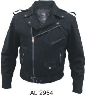motorcycle bikers style black denim jacket 14 oz