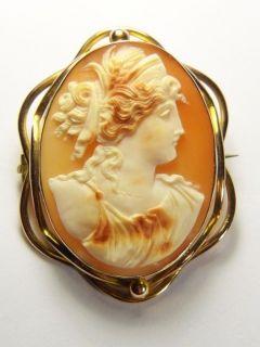 ANTIQUE 9K GOLD SHELL CAMEO BROOCH PIN PENDANT DEMETER GODDESS c1880