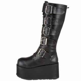 Demonia 4 Platform Buckle Strap Knee Goth Punk Boot Black PU RIPSAW