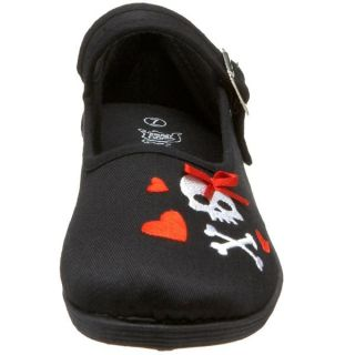 Demonia Black Canvas Mary Jane Flat Shoe Skull Hearts Womans SASSIE 25