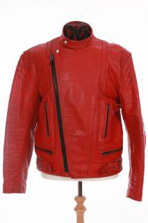 Vintage Albert Dann Red Leather Cafe Racer Biker Motorcycle Jacket