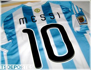 Argentina Messi Short Sleeve Soccer Jersey Size L Match Day vs Mex