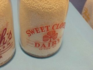 Dairy Erie PA Sweet Clover de Pere Wis 1 2 Pint Milk Bottle