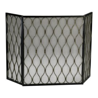 Gold Mesh Criss Cross Diamond Design Fireplace Screen 3 Panel
