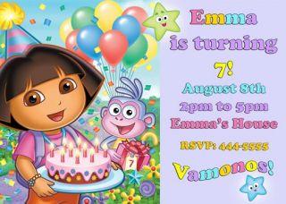 Dora The Explorer and Go Diego Go Birthday Invitations