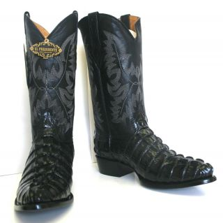 Crocodile Alligator Tail Cut Design Mans Western Cowboy Boots Rounded
