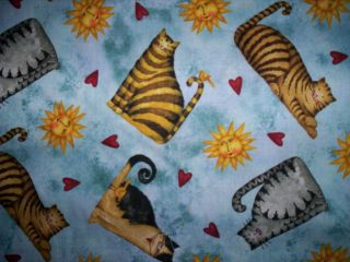 yd x 44 Home Sweet Home by Debi Hron for SPx Fabrics Blue Cats Sun