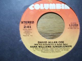 David Allan COE Hank Williams Junior Junior 45 RPM