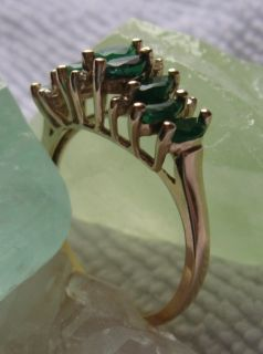 Vintage 14K Natural Emerald Diamond Ring Stair Step Design Sz 7 1 2