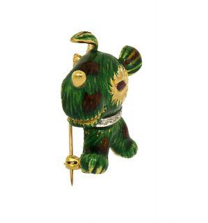 DESIGNER J. ROSSI 18K GOLD, DIAMONDS & FINE ENAMEL LADIES DOG PIN