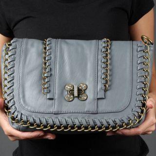 Gray Rhinestone Chain Turnlock Crossbody Shoulder Bag Designer Handbag