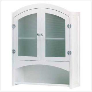 White Bathroom Home Decor Wall Storage Cabinet With Towel Bar Rack