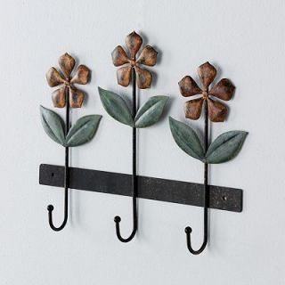 Fetco Mayer Flowers Floral Leaves Bronze 3 Wall Hooks Decorative Art