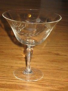 Vintage Set 4 Etched Glass Dessert Glasses Wine Water Cordial Champgne